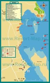 Подробная карта курорта Сафага с отелями