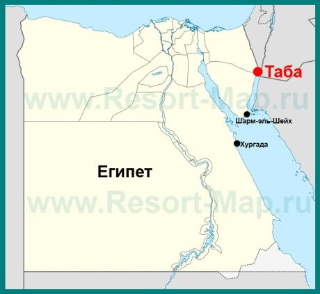 Город Таба на карте Египта