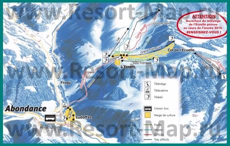 Карта склонов горнолыжного курорта Абонданс