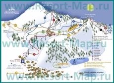 Подробная карта горнолыжного курорта Абонданс с трассами