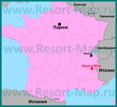 Альп д`Юэз на карте Франции