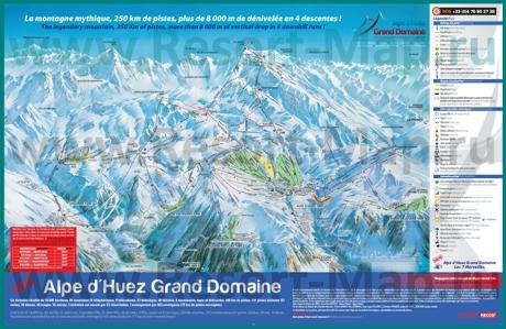 Карта склонов горнолыжного курорта Альп д`Юэз с трассами