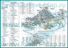 Подробная карта горнолыжного курорта Альп д`Юэз с отелями