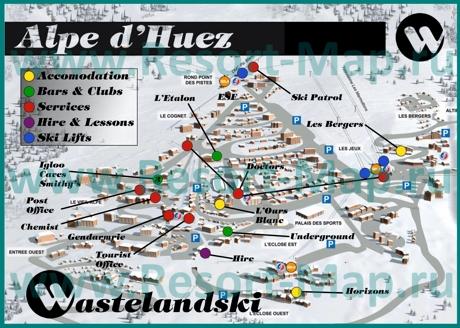 Туристическая карта горнолыжного курорта Альп д`Юэз