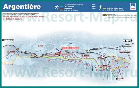 Карта склонов горнолыжного курорта Аржантьер с трассами
