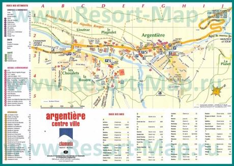 Подробная туристическая карта горнолыжного курорта Аржантьер с отелями