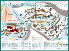 Подробная карта горнолыжного курорта Авориаз с отелями