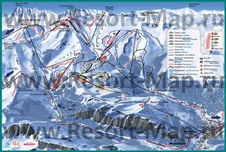 Подробная карта горнолыжного курорта Авориаз с трассами
