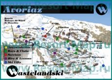 Туристическая карта Авориаза с барами и ресторанами