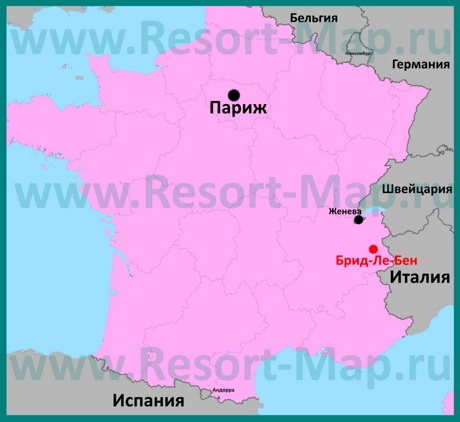 Брид-Ле-Бен на карте Франции