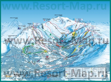 Карта склонов горнолыжного курорта Брид-Ле-Бен с трассами
