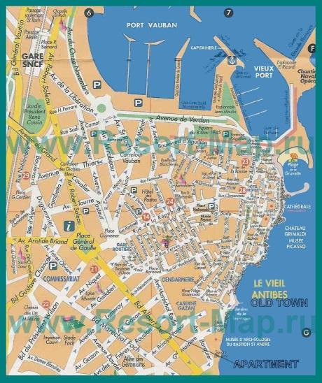 Подробная карта города Антиб