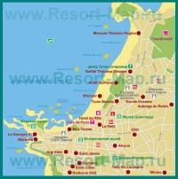 Карта Биаррица с отелями и достопримечательностями