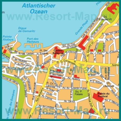 Подробная карта центра города Биарриц