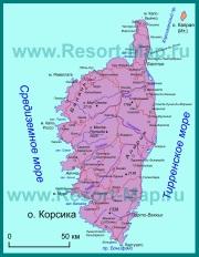 Карта Корсики на русском языке