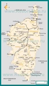 Подробная карта острова Корсика