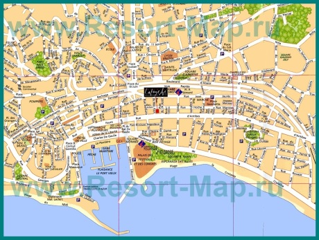 Карта города Канны с достопримечательностями