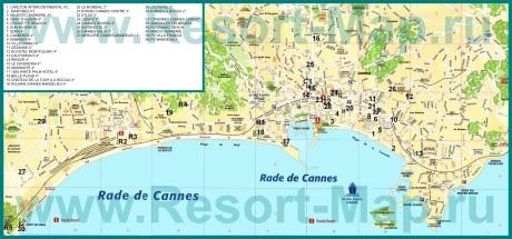 Подробная карта Канн с отелями