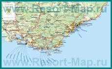 Карта Лазурного берега с курортами