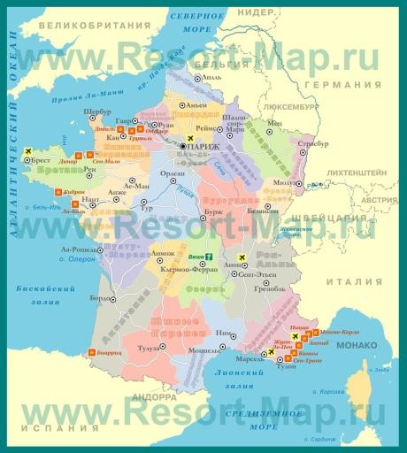 Курорты Франции на карте