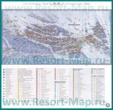 Подробная карта горнолыжного курорта Куршевель с отелями