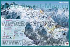 Подробная карта горнолыжного курорта Ле дез Альп с трассами