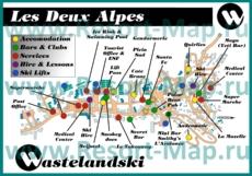Туристическая карта Ле дез Альп с отелями и барами