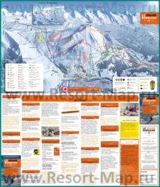 Карта склонов горнолыжного курорта Ле-Гран-Борнан с трассами