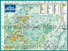 Подробная карта горнолыжного курорта Ле-Гран-Борнан