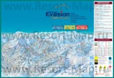 Подробная карта горнолыжного курорта Межев с трассами