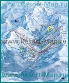 Подробная карта склонов горнолыжного курорта Мерибель с трассами