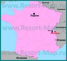 Монрион на карте Франции