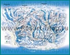 Подробная карта горнолыжного курорта Монрион с трассами