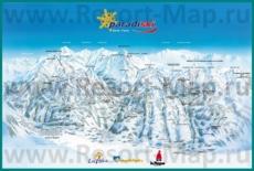 Подробная карта горнолыжного курорта Парадиски с трассами