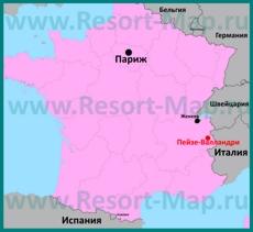 Пейзе-Валландри на карте Франции