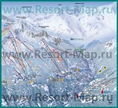 Подробная карта склонов горнолыжного курорта Пейзе-Валландри с трассами