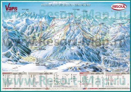 Подробная карта склонов горнолыжного курорта Ризул с трассами