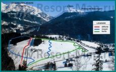 Подробная карта горнолыжного курорта Сен-Жан-де-Сикст с трассами
