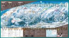 Подробная карта горнолыжного курорта Серр-Шевалье с трассами и отелями