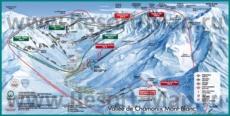 Подробная карта горнолыжного курорта Шамони с трассами