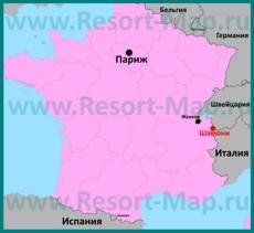 Шамони на карте Франции