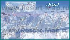 Подробная карта склонов горнолыжного курорта Шатель с трассами