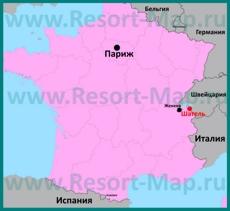 Шатель на карте Франции