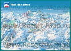 Подробная карта склонов горнолыжного курорта Тинь с трассами