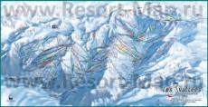 Подробная карта горнолыжного курорта Три Долины с трассами