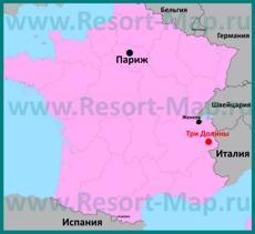 Три Долины на карте Франции