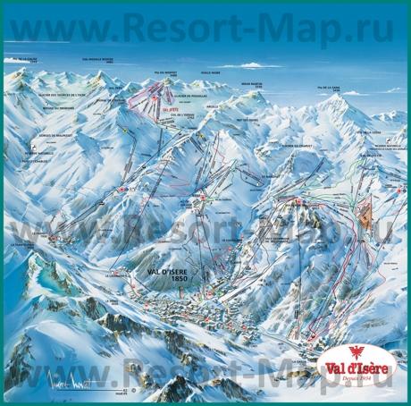 Подробная карта склонов горнолыжного курорта Валь-д'Изер с трассами
