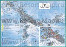 Туристическая карта горнолыжного курорта Валь-д'�зер с отелями и шале