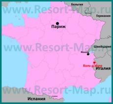 Валь-д'�зер на карте Франции