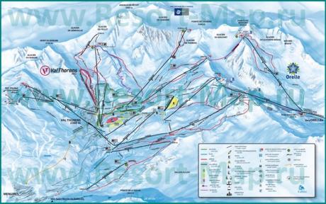 Подробная карта склонов горнолыжного курорта Валь Торанс с трассами